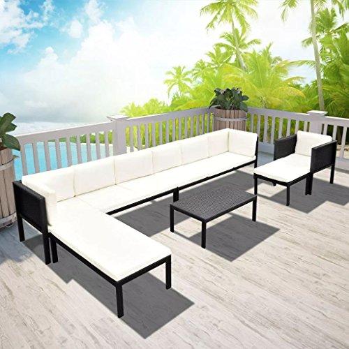 binzhoueushopping Jeu de Canapé d'extérieur 24 pcs Noir Dimensions du canapé d'angle 155 x 60 x 65 cm (L x P x H) canape Design Dimensions de la Table Basse 80 x 50 x 32 cm (L x P x H) Résine tressée