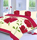 Off White & Pink Super King Size Duvet Quilt Cover Bedding Bed Set Floral