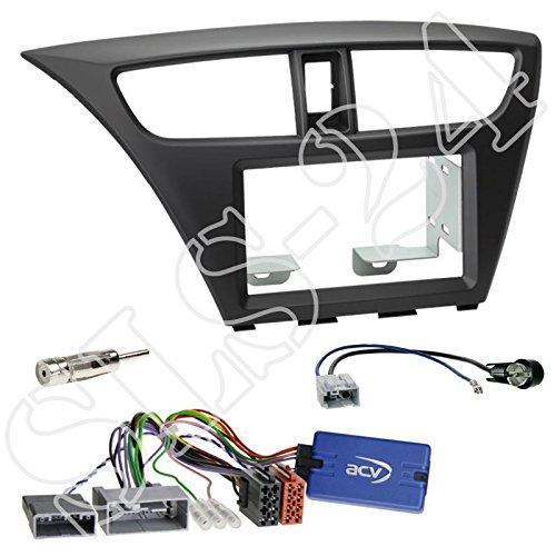 EINBAUSET: Honda Civic (FK1/FK2/FK3) ab 02/2012/ Honda Civic (FK2/FK3) ab 02/2014 - Doppel-DIN 2-DIN Radio Blende Radioblende schwarz + Sony LFB Adapter Lenkradfernbedienungsadapter + Antennenadapter