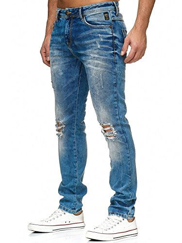 Red Bridge Hommes Jeans Dechiré Troué-Genoux Denim Destroy Slim Pantalon