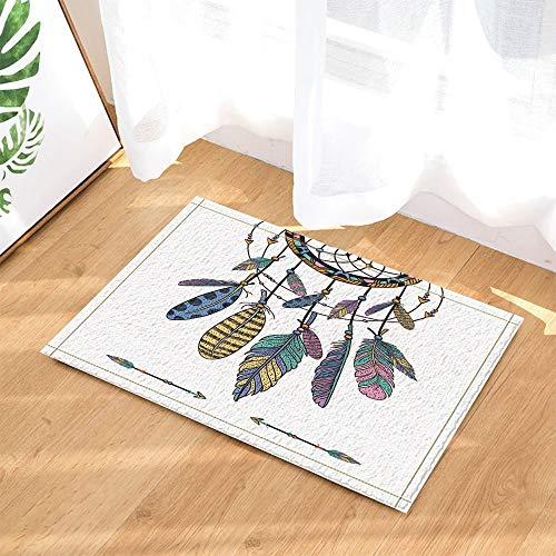 fdswdfg221 Decoración nativa Americana Colorido Atrapasueños étnicos con Plumas s de Antideslizantes Felpudo Piso de Entrada Entrada al Aire Libre Interior Puerta Delantera Estera de de