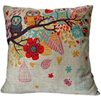 "Cotton Linen Square Decorative Throw Pillow Case Cushion Cover Owls with Birdcage 18 ""X18 """