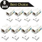 8 pezzi Rj45 Keystone Jack Cat 6 Lan cavo di rete connettore Punch Down Jack in linea Ethernet Splitter accoppiatore modulo adattatore per presa a muro faccia presa presa (confezione da 8)
