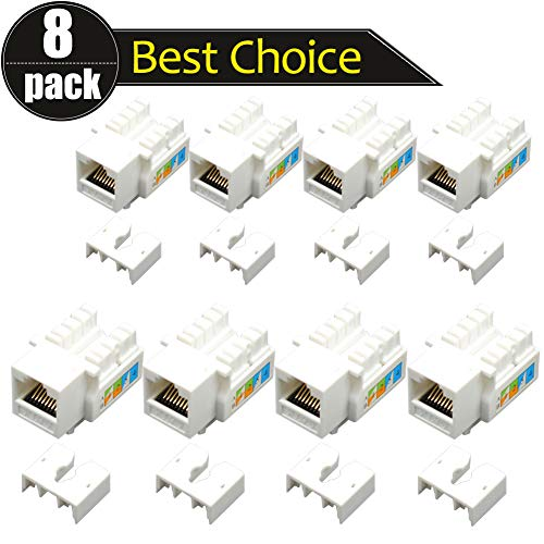 AMZANDY NEW 8 Pack Rj45 Keystone Jack Cat 6 LAN Netzwerkkabelanschluss Punch Down-Buchse In-Line-Ethernet-Splitter-Koppler-Modul-Adapter für Steckdose (8 Pack) - T568b Verdrahtung