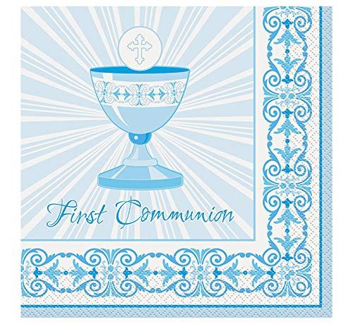 Unique Party Supplies Strahlend Kreuz blau First Communion Servietten, 16Stück