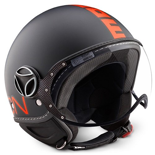 Helm Momo Fighter schwarz FR Neon Orange Größe M (Helm Jet Fighter)