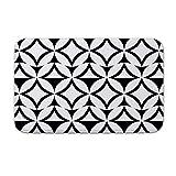 DKISEE Fußmatte für den Innen- und Außenbereich, mit Muster, Schwarz/Weiß, Flanell, 15.7