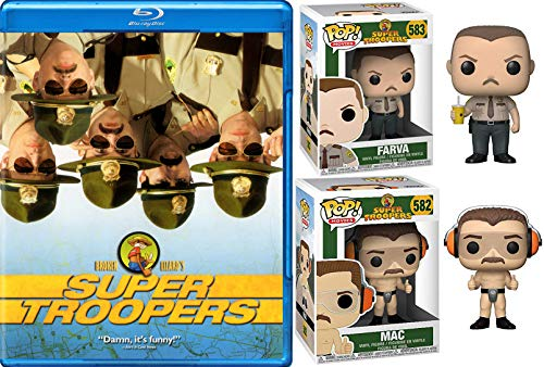 The Altered state police Mac & Farva Highway Patrolmen Movie Pack: Super Troopers Blu Ray & Pop Character Figure Collectible Comedy Laugh Bundle