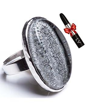 ANTONIO MIRÓ Anillo Ajustable Plateado Ovalado diseño Onix - Sortija Elegante con logotipo grabado - Satisfacción...