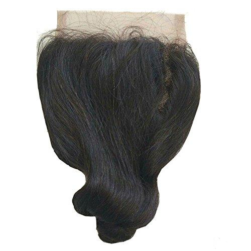 ohlees® Human Hair Lace Closure 100% cheveux Péruviens vierges 6 une perte de cheveux humains Wave 4*4 Fermeture en dentelle intégrale 4*4 blanchi sans noeuds partie 16\\