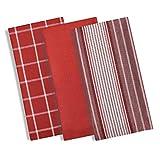 Manhattan set di 3strofinacci in cotone, strofinacci da cucina con moderno motivo a quadri e righe, strofinacci in terry assorbente, pacco da 3 Red