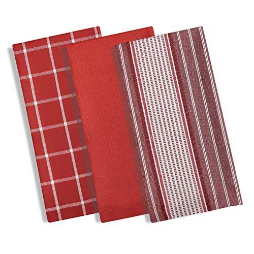 Manhattan set di 3strofinacci in cotone, strofinacci da cucina con moderno motivo a quadri e righe, strofinacci in terry...