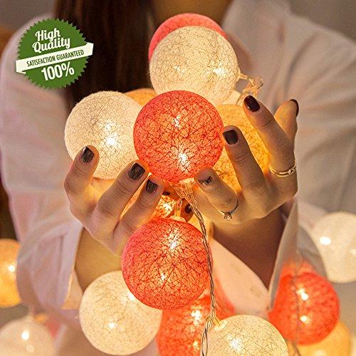 LED Lichterkette mit Baumwollkugeln, Chickwin Batterie Betrieben 6cm Kugeln Mit Deko Licht Festlich Hochzeiten Geburtstag Party Cotton Ball Themen Weihnachten Lichterkette Dekorative (Orange, 1.8m/ 10 ()