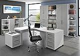 Arbeitszimmer Komplettset MAJA Möbel System Komplettes Büro 10-teilig in Icy Weiß / Steingrau
