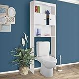 ProBache - Meuble étagère dessus wc en bois blanc H.178 cm