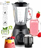 800 Watt Edelstahl Standmixer mit Glas-Behälter 1,5 Liter und Kaffeemühle, BPA-Free, Smoothie Maker Schwarz