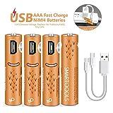 Wiederaufladbare AAA-Batterien, wiederaufladbare Elzle-AAA-Batterien 450mAh mit USB-Anschlüssen Hohe Kapazität 1,2 V NiMH Niedriger Selbstentladungs-Akku AAA-Aufladung über USB-Kabel (4er Pack)