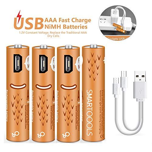 Wiederaufladbare AAA-Batterien,wiederaufladbare Elzle-AAA-Batterien 450mAh mit USB-Anschlüssen Hohe Kapazität 1,2 V NiMH Niedriger Selbstentladungs-Akku AAA-Aufladung über USB-Kabel (4er Pack) Usb Aaa Batterie