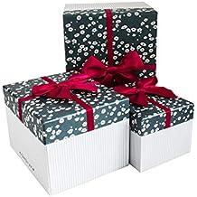 Emartbuy Conjunto de 3 Rígido Lujo Rectángulo Presentación de Caja de Regalo, Caja de Rayas