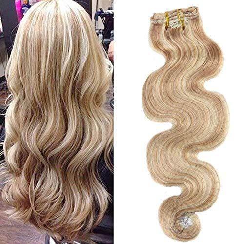 Moresoo Dip Dye Clip in Haarverlängerung Echthaar Tressen Goldenbraun mit Bleichen Blond Gesträhnt/#12/613 Ombre Remy Echthaar Extensions Clip in Human Haar 18 Zoll