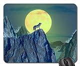 Gaming-Mauspads, Mauspad, Wolf Moon Mountain Animal Wild Nature Night