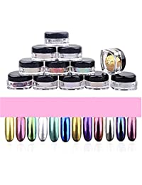 SKY nuevo !!!12 colores Nail Glitter Powder brillo espejo de uñas polvo Maquillaje Arte DIY cromo pigmento con esponja Stick (Multicolor)