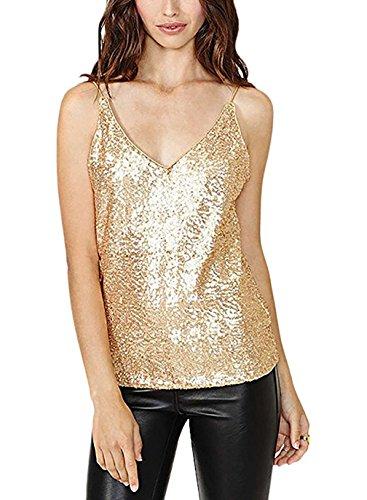 Donna Gold Paillettes Camicia per Partito Sera Moda Vest T Shirt Canotte Elegante Estivi Tank Top V Scollo Senza Maniche Backless Spaghetti Crop Maglietta Oro