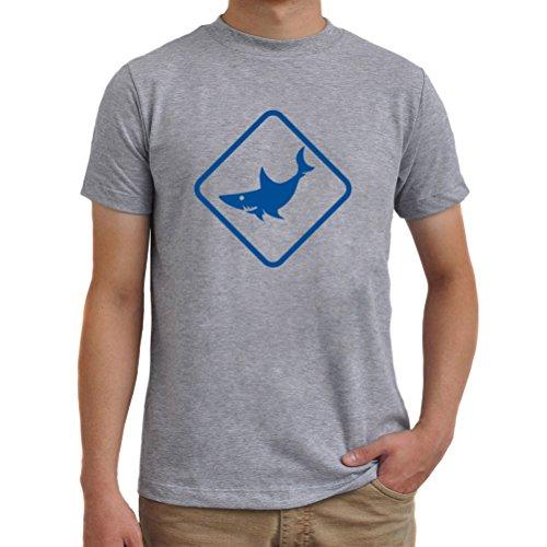 Maglietta Shark Animal Silhouette Grigio melange