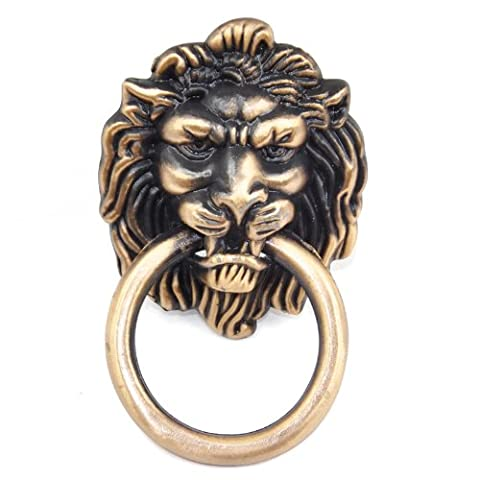 Veroda Antique Lion Head Design Clock Pull Handle Knob Cupboard Cabinet Door Ring