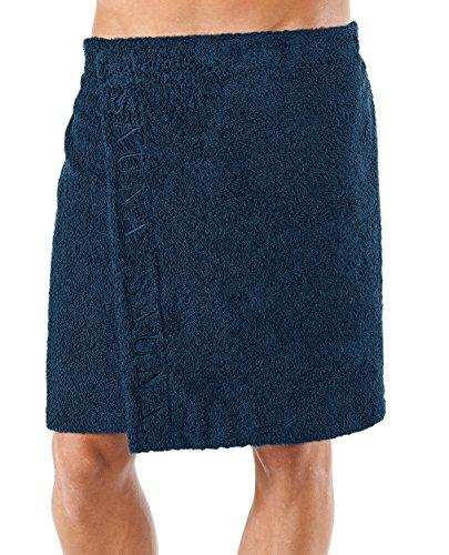 u - dunkelblau aus schlingenfesten Frottee, das Saunatuch mit Klettverschluss für den Mann (Bestickte Sporttaschen)