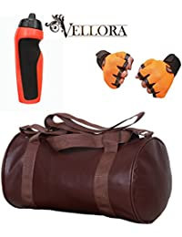 VELLORA Soft Leather Duffel Gym Bag (Brown) With Penguin Sport Sipper, Gym Sipper Water Bottle Color Black Red... - B07F2JD9MV