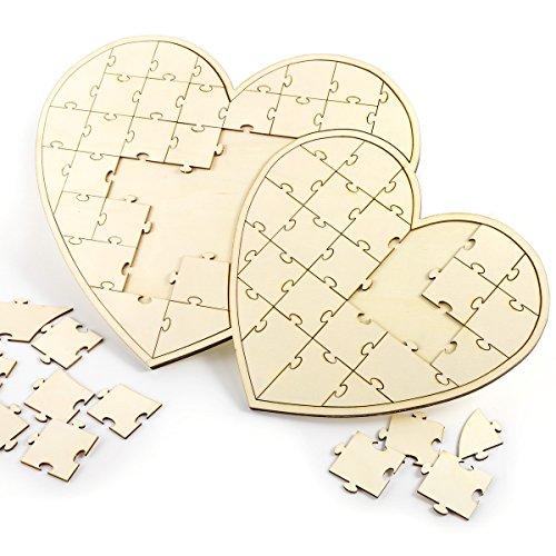 CLE DE TOUS - Puzzle de Madera Libro de Firmas Libros de visitas para Fiesta Boda Bautizo Baby Shower Cumpleaños (Doble Corazón)