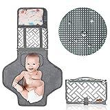 Cambiador de pañales portátil, ANSUG Almohadilla para cambiar el bebé plegable a prueba de agua con almohada suave y bolsillos organizadores Limpios y seguros para viajes al aire libre