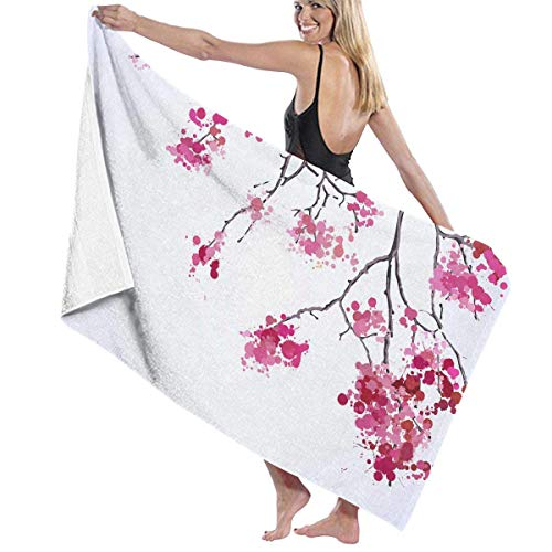 fjfjfdjk Cherry Blossoms Spring Branches Adult Microfiber Beach Towel Oversized 31x51 Inch Quick-Drying Eco-Friendly Multipurpose Use Beach Blanket for Women Men -