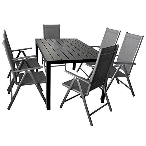 Multistore 2002 7-teilige Gartengarnitur Gartenmöbel Terrassenmöbel Set Sitzgruppe Aluminium Gartentisch Polywood 150x90cm + 6X Hochlehner 2×2 Textilen