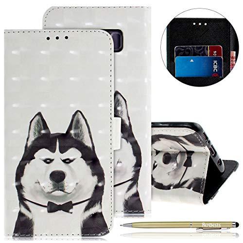 Herbests Kompatibel mit Lederhülle Galaxy S8 Plus Bunt Ledertasche Handytasche Flip Case Retro Glitzer Bling Glänzend Leder Hülle Handy Schutzhülle Klapphülle Handyhülle,Komisch Hund