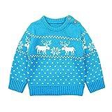 Baby Weihnachten Strickpullover Jungen Mädchen Winter Yanhoo Kindermode Gestrickte Cartoon Fawn Pattern Sweater Top Pulli Pullover Sweatshirt