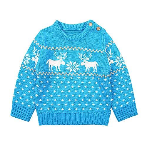 (Venmo Infant Baby Jungen Mädchen Langarm Cartoon Weihnachten Gestrickte Tops Pullover Kleidung Warme Strampler Neugeborene Jungen Mädchen Hirsch Plüsch Mit Kapuze Outwear)