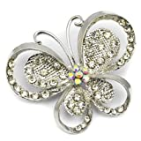 Elixir77UK Silver Colour Butterfly Gift Decoration Pin Brooch With Plain and AB Crystals UK SELLER