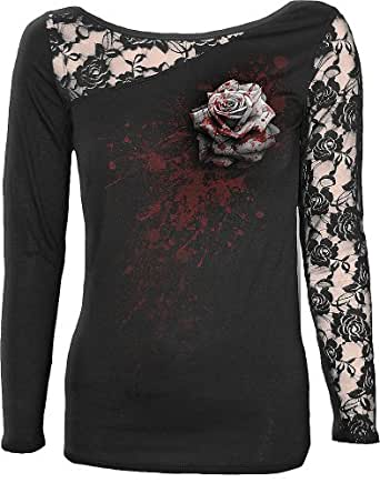 Spiral - Women - WHITE ROSE - Lace One Shoulder Top Black - Small