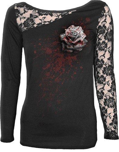 Spiral White Rose Manica lunga donna nero L