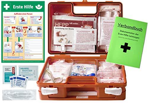 Preisvergleich Produktbild Erste Hilfe Kasten -Paket 2- DIN / EN 13157 für BÜRO & BETRIEBE + DIN / EN 13164 für KFZ - INKL. Verbandbuch & AUSHANG