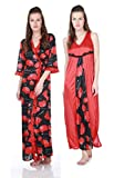 Claura Women's Red Printed Satin Floral Nighty With Robe (CL-25-red-pnr, red) best price on Amazon @ Rs. 549