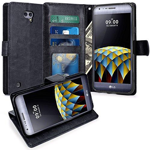 LG X Cam Hülle, LK Luxus PU Leder Brieftasche Flip Case Cover Schütz Hülle Abdeckung Ledertasche für LG X Cam (Schwarz)