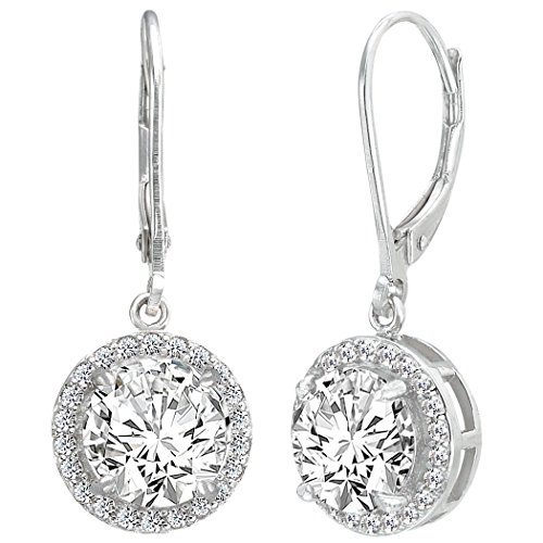 EVER FAITH® 925 Sterling Silber Elegant Round CZ Dangle Hochzeit Ohrringe
