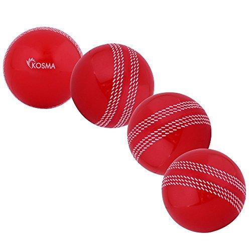 Kosma Ensemble de 4 Windball Balle de Cricket | Formation | Soft Ball Balle de pratique Intérieur/Extérieur- Rouge avec couture blanche