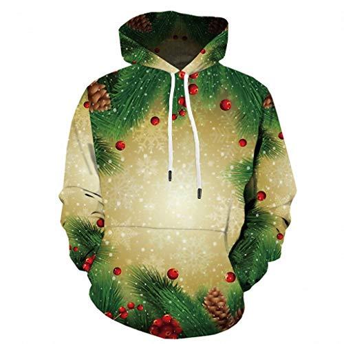 Kostüm Weihnachtsmann 5xl - ODRD Merry Christmas Weihnachtspullover Damen Vintage Lustig Ugly Langarm Pullover Weihnachten Gedruckt Weihnachtsmann Hooded Sweatshirt Bluse Tops - Sweater Hoodie Lustig Pulli Weihnachtsparty