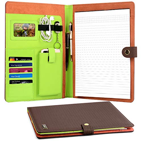 i Ordner mit 5 Kartenschlitze & Handy/iPad Taschen + Transparent Fram-4 Ring Präsentation Büro Organizer, professionelle Dokumente Binder Fall PU leather file holder-Brown ()