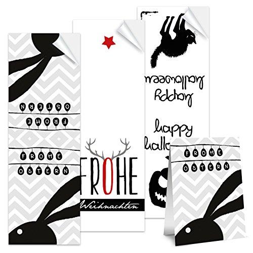 Preisvergleich Produktbild 30 Sticker f. Ostern, Weihnachten u. Helloween schwarz weiß rot - je 10 pro Design (9046+11180+11300)