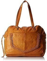 PIECES - Pcmonica Leather Bag, Shoppers y bolsos de hombro Mujer, Braun (Cognac), 14x30x35 cm (W x H D)